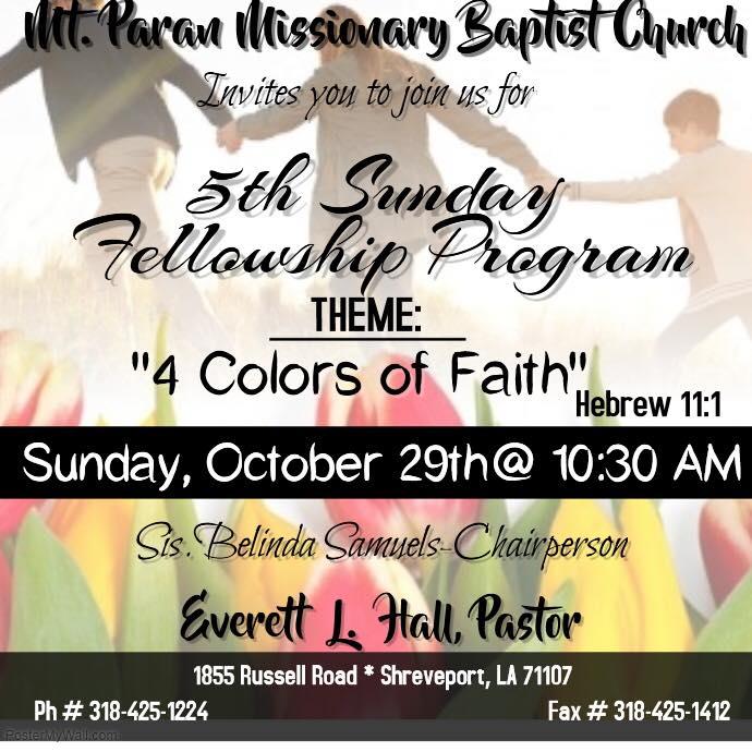 (October 2017) 5th Sunday Program